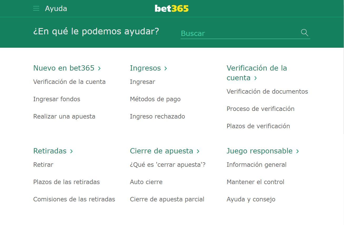 Servicio al cliente de Bet365 Peru