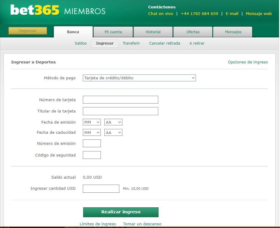 Bet365 depósito