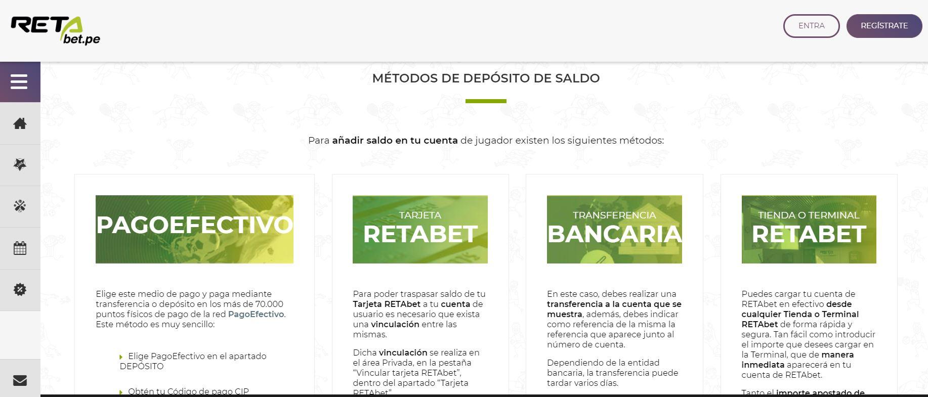 Método de pago RETAbet