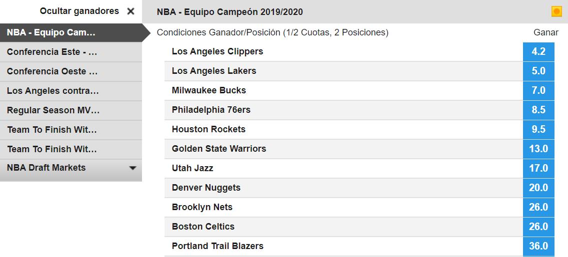 Apuesta en la temporada 2019/2010 de NBA