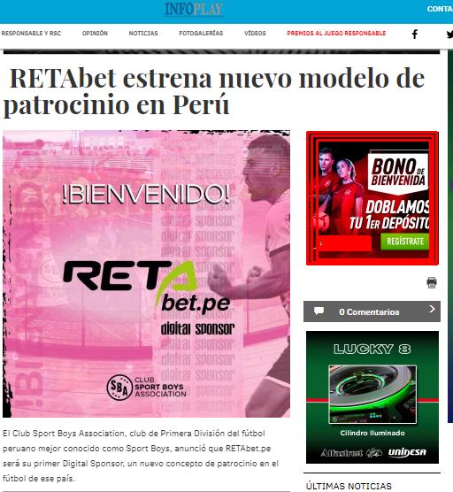 RETAbet es nuevo sponsor de Sport Boys >Medio español cubriendo la noticia