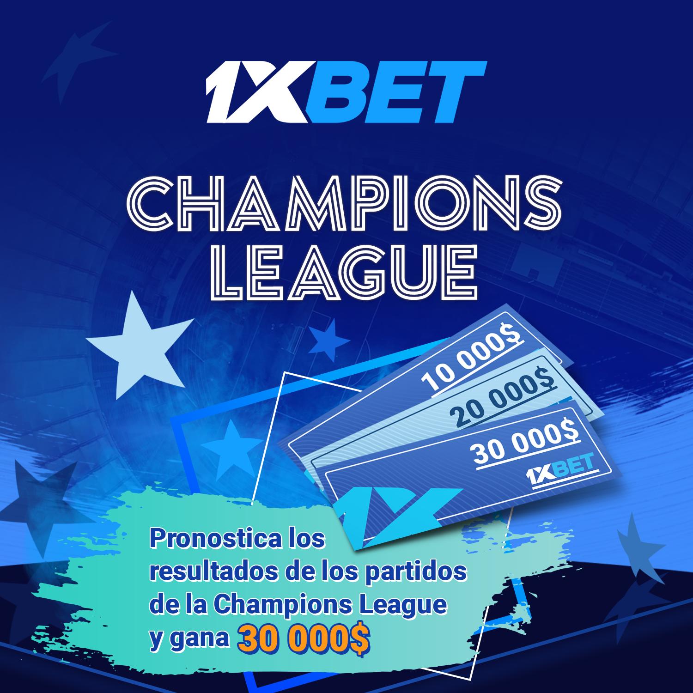 Pronostica Champions League y gana hasta $30k en 1xbet > Son 6 premios principales y más de 700 de consuelo. ¡Gana hoy mismo!